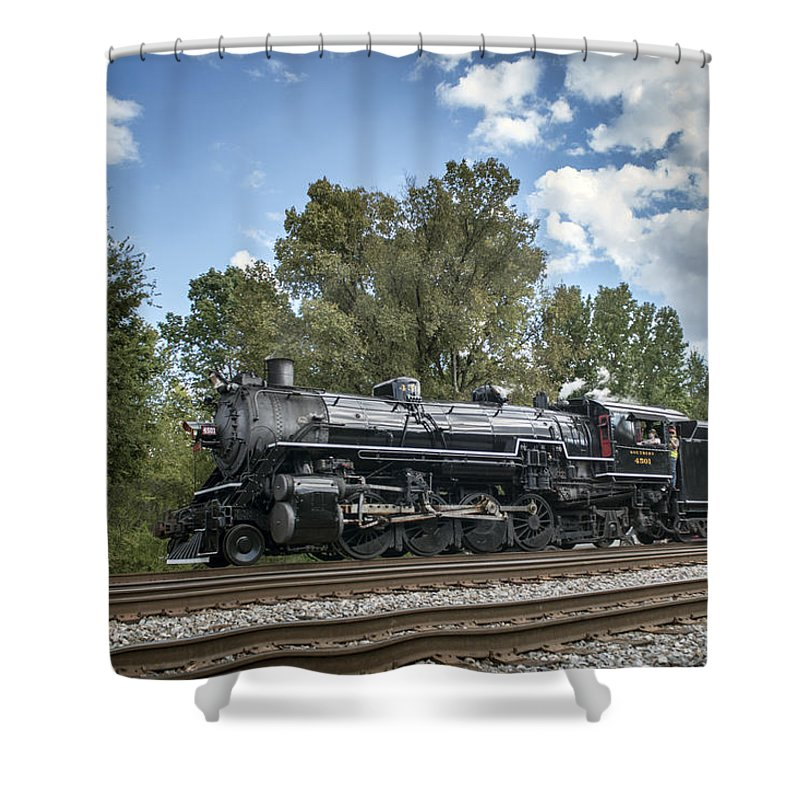 Southern Railway 4501 Shower Curtain featuring the photograph Southern 4501 At Railfest 2015 - 3 by Jim Pearson