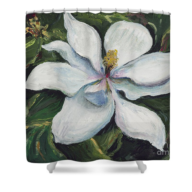 Green Shower Curtain featuring the painting Southern Beauty by Nadine Rippelmeyer