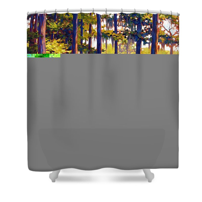 Marshes; Egrets; Low Country; Palmetto Trees Shower Curtain featuring the painting Southern Breeze by Ben Kiger