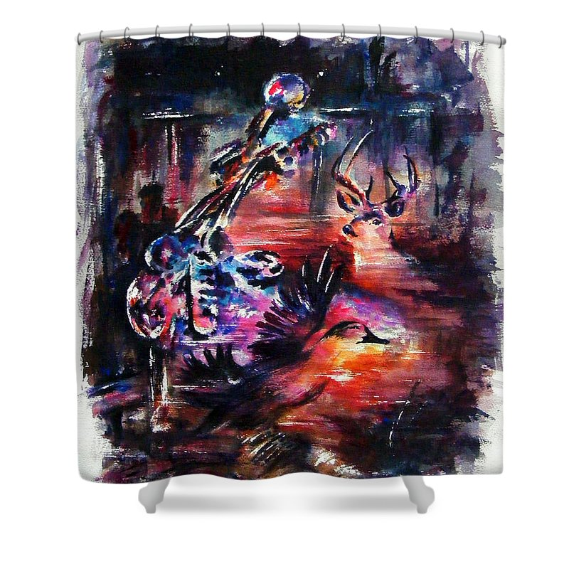 Landscape Shower Curtain featuring the painting Southern Man by William Russell Nowicki