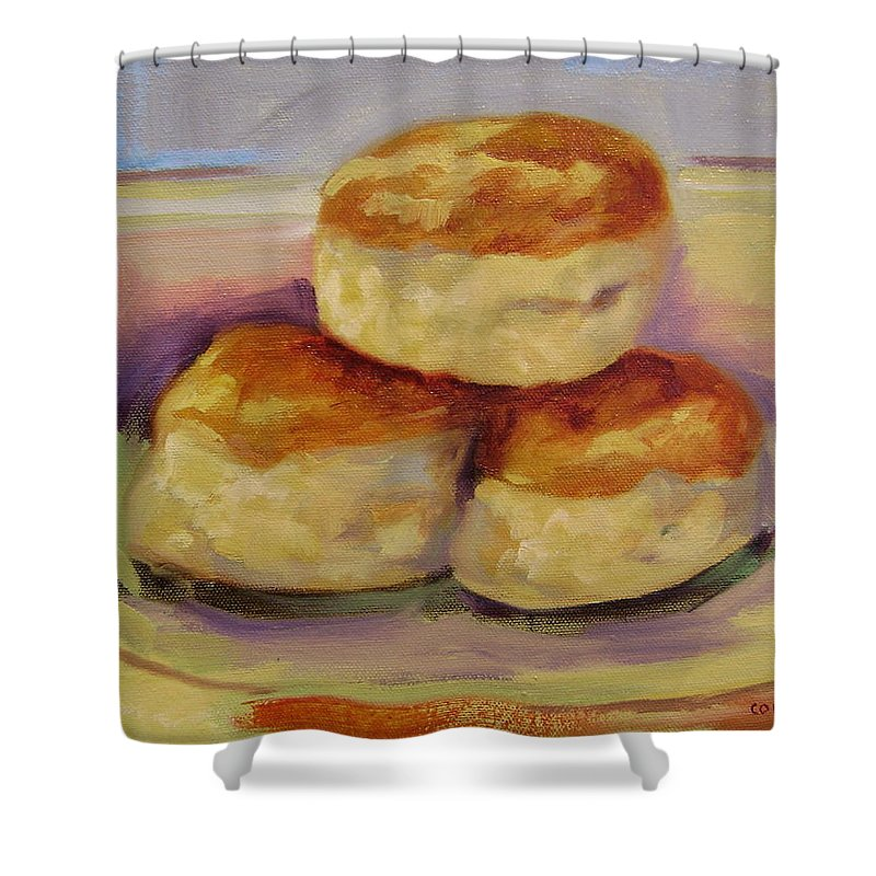 Biscuits Shower Curtain featuring the painting Southern Morning Fare by Ginger Concepcion