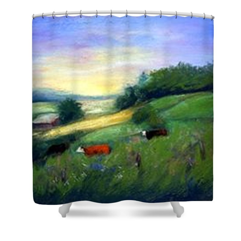 Landscape Shower Curtain featuring the painting Southern Ohio Farm by Gail Kirtz
