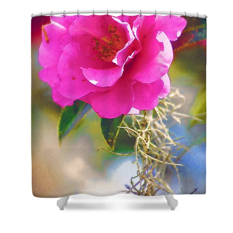 Rose Shower Curtain featuring the digital art Southern Rose by Donna Bentley