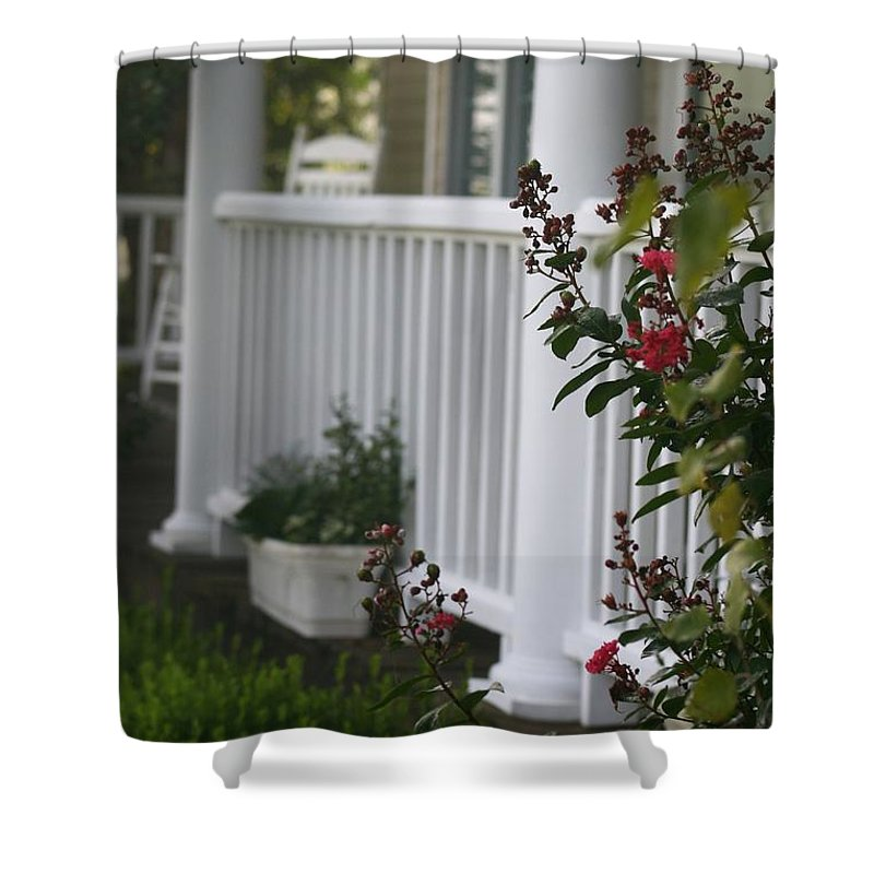 Summer Shower Curtain featuring the photograph Southern Summer Flowers And Porch by Nadine Rippelmeyer