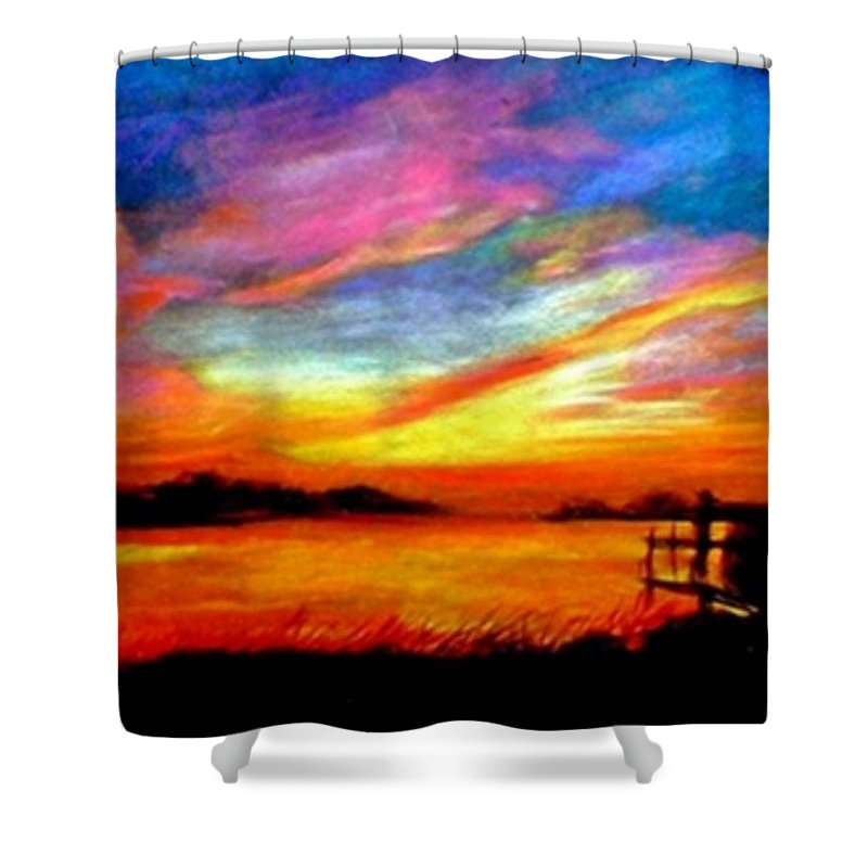 Sunset Shower Curtain featuring the painting Southern Sunset by Gail Kirtz