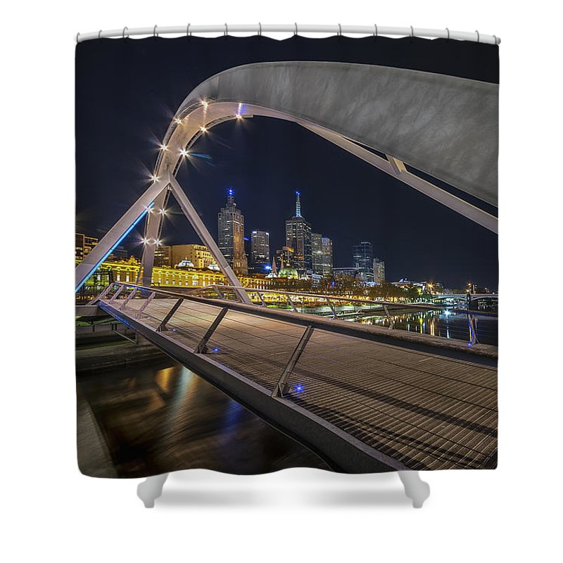 Melbourne Shower Curtain featuring the photograph Southgate Bridge At Night by Ray Warren