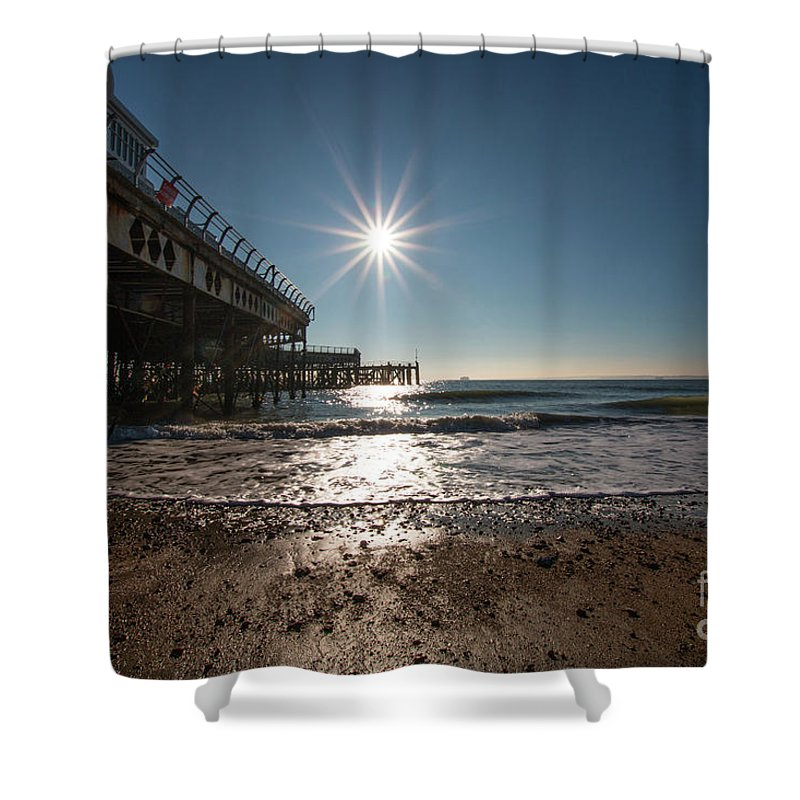 Sun Shower Curtain featuring the digital art Southsea Pier by Andrew Middleton