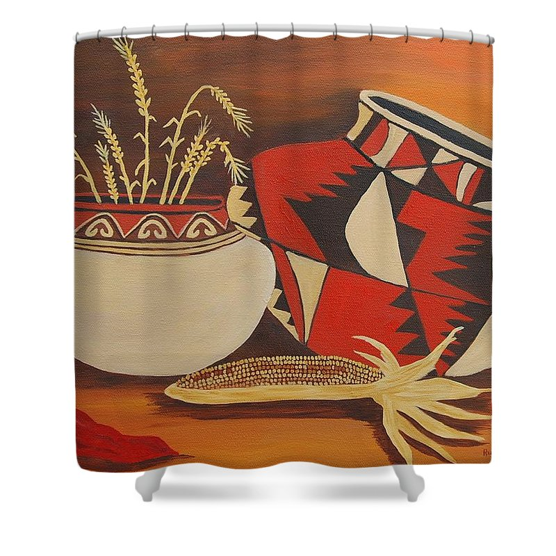 Still Life Shower Curtain featuring the painting Southwest Pottery by Ruth Housley