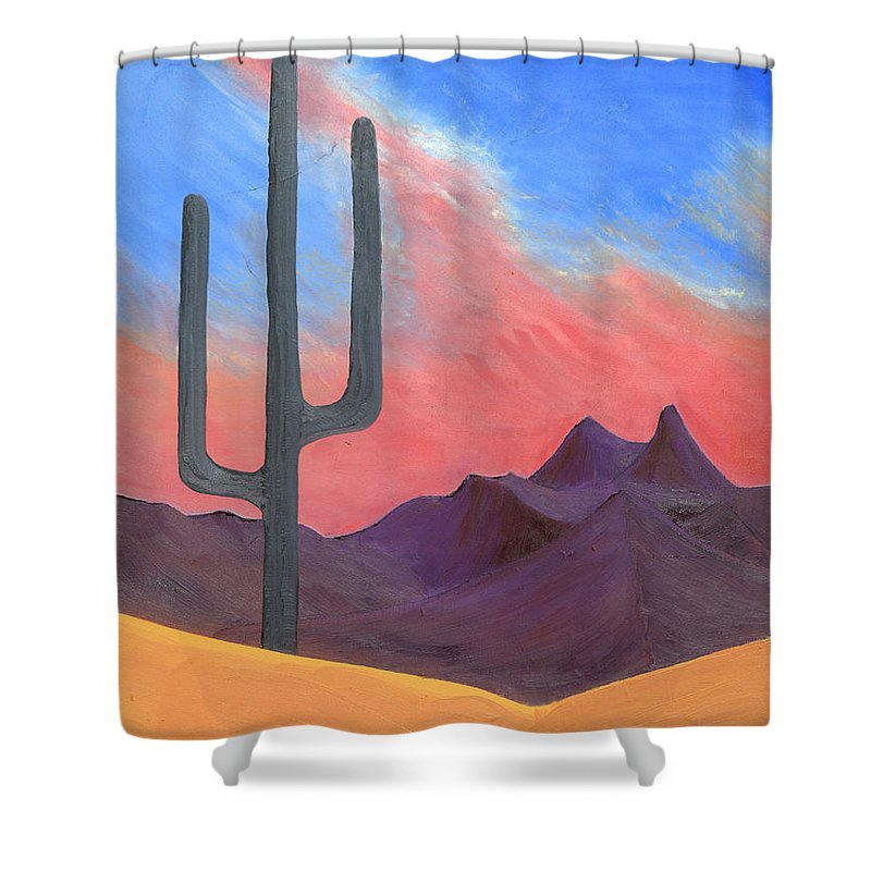 Cactus Shower Curtain featuring the painting Southwest Scene by J R Seymour