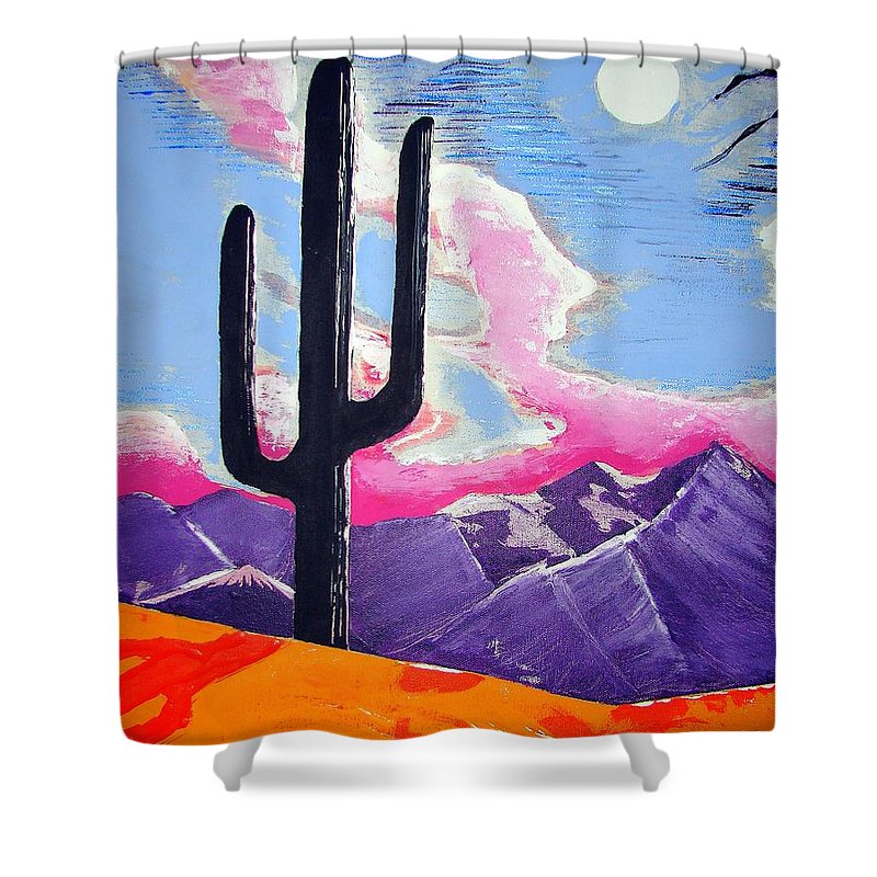 Cactus Shower Curtain featuring the painting Southwest Skies 2 by J R Seymour