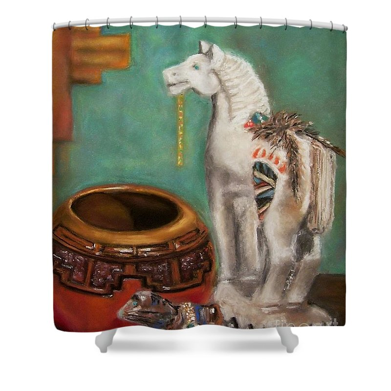 Southwest Art Shower Curtain featuring the painting Southwest Treasures by Frances Marino