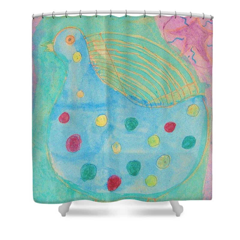Mixed Media Painting. Southwestern Style Chicken With Accents. Blue Shower Curtain featuring the drawing Southwestern Chicken by Barbara Yearty