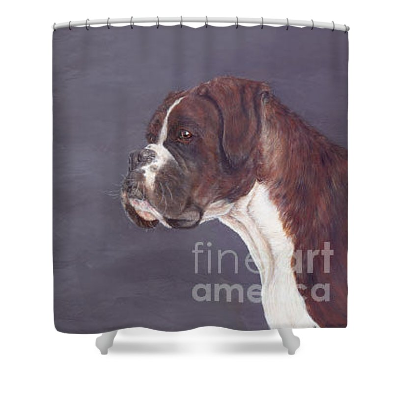 Oil Shower Curtain featuring the painting sox by Keran Sunaski Gilmore