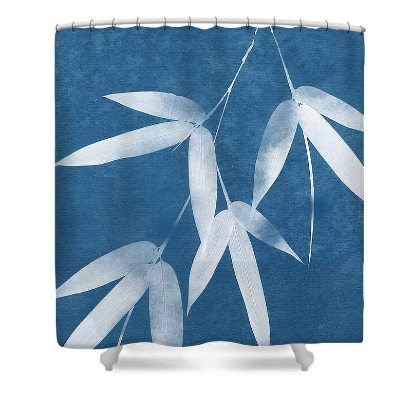 Bamboo Shower Curtain featuring the mixed media Spa Bamboo 1-art By Linda Woods by Linda Woods