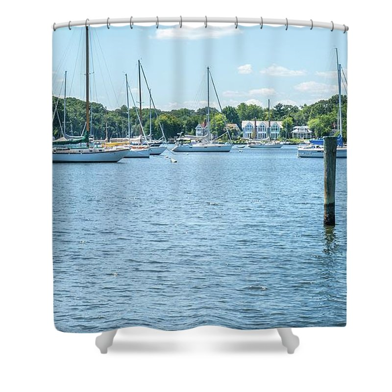 Annapolis Shower Curtain featuring the photograph Spa Creek In Blue by Charles Kraus