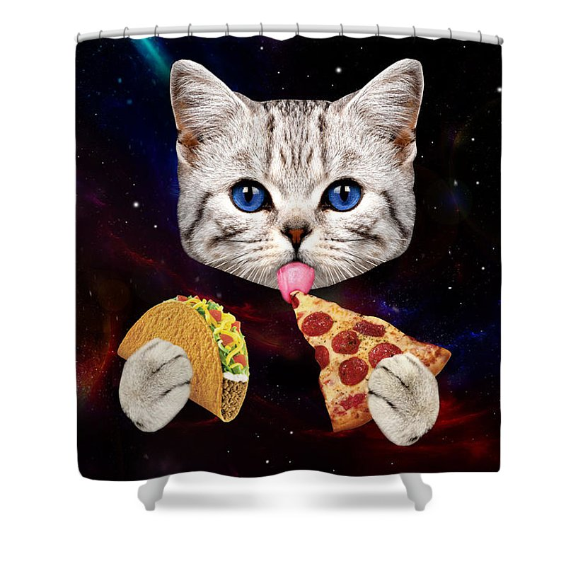 Cat Shower Curtain Featuring The Digital Art Space With Taco And Pizza By Johnnie