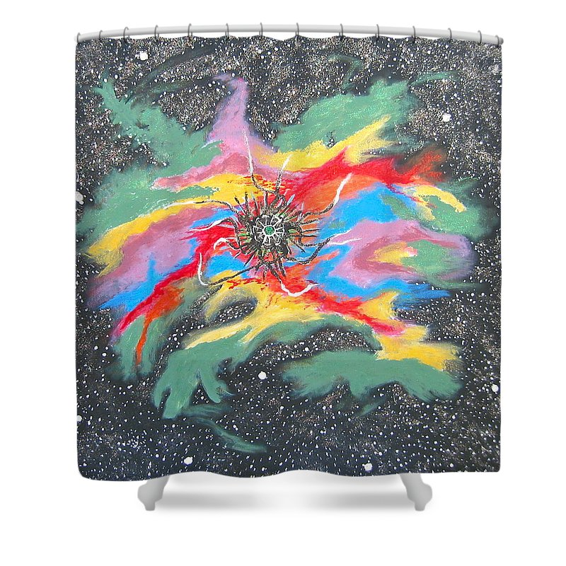 Space Shower Curtain featuring the painting Space Garden by V Boge