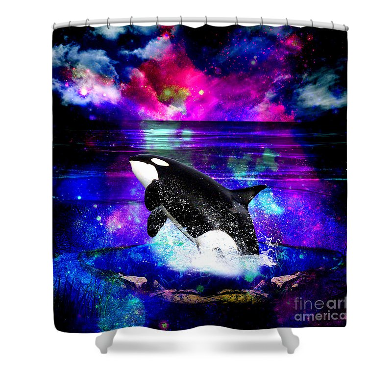 Space Shower Curtain Featuring The Digital Art Orca By Haris Kavalla