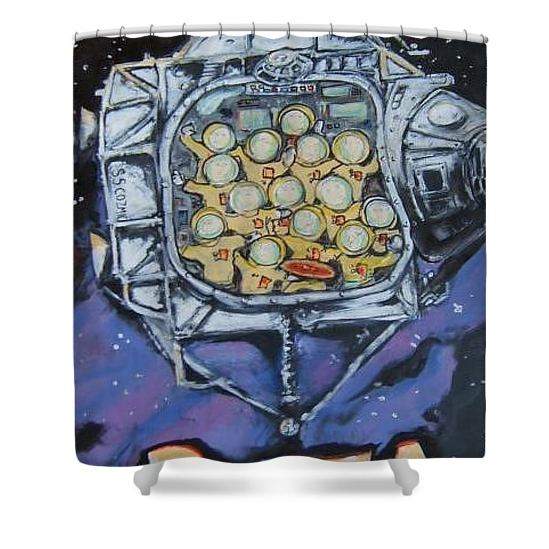 Space Shower Curtain featuring the painting Space Ship by Todd Artist