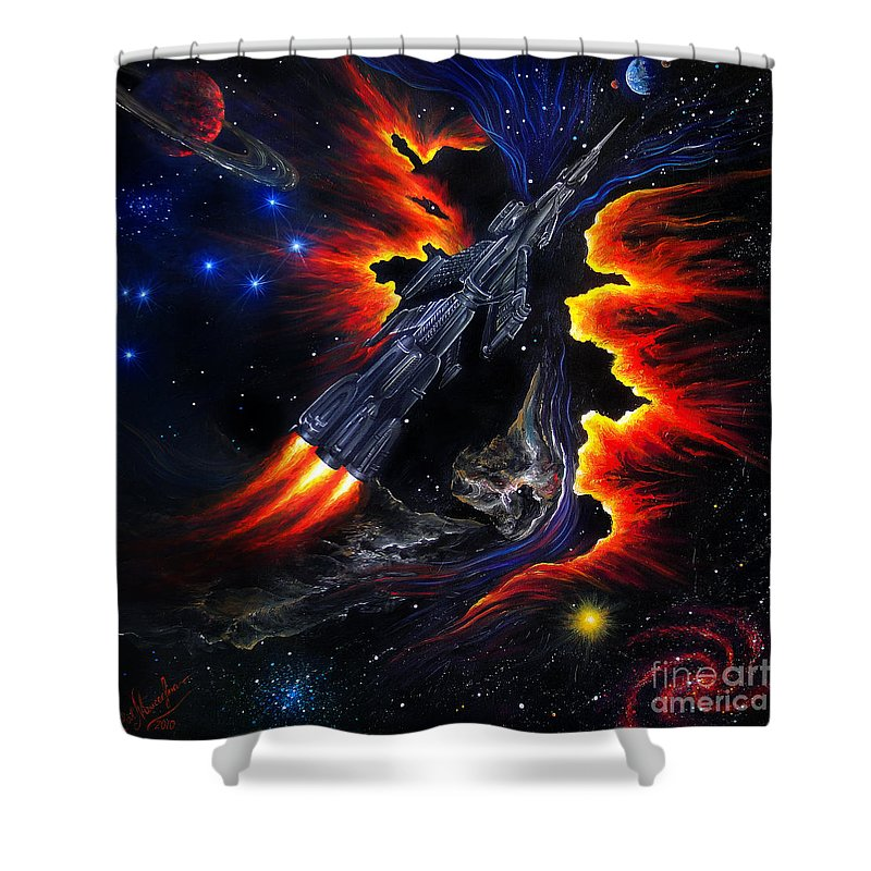 Space Shuttle Shower Curtain featuring the painting Space Shuttle. Flight Through The Never by Sofia Metal Queen