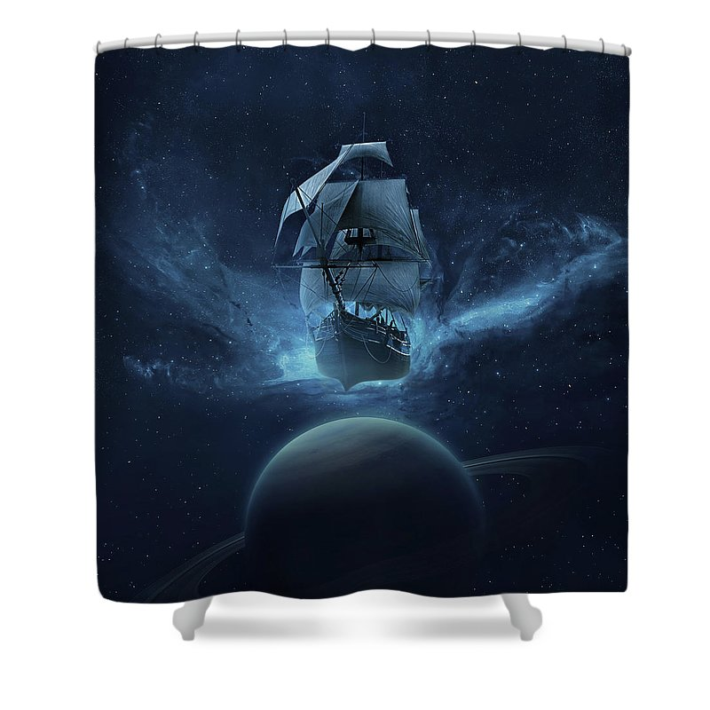 Blue Shower Curtain featuring the digital art Spaceship by Zoltan Toth