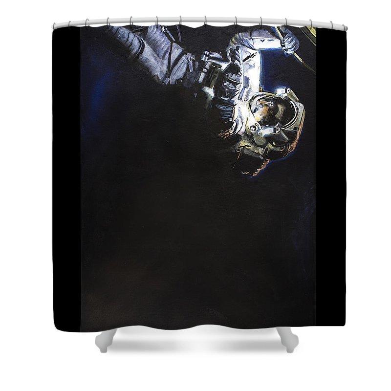 Spacewalk Shower Curtain featuring the painting Spacewalk 1 by Simon Kregar