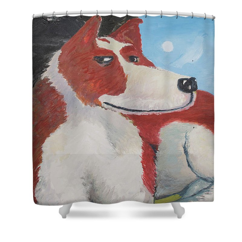 Cavalier King Charles Spaniel Shower Curtain featuring the painting Spaniel Ancestor by Craig Newland