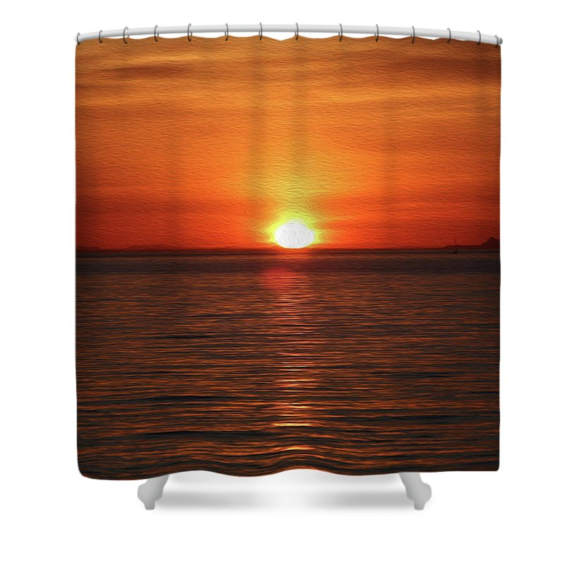 Sunset Shower Curtain featuring the digital art Spanish Banks Sunset - Digital Oil by Steve Owst