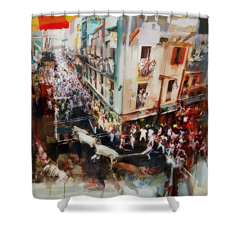 Spanish Shower Curtain Featuring The Painting Culture 11 By Corporate Art Task Force