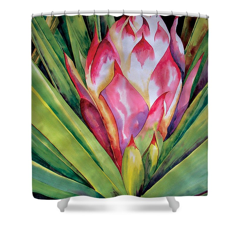 Floral Painting Shower Curtain featuring the painting Spanish Dagger Iv by Kandyce Waltensperger