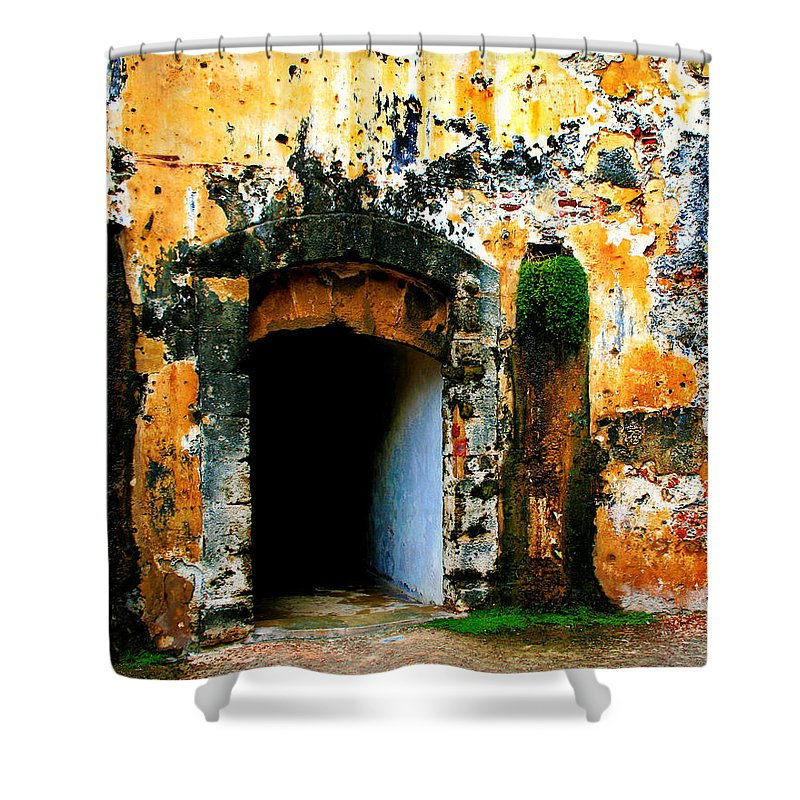 Fort Shower Curtain featuring the photograph Spanish Fort Doorway by Perry Webster
