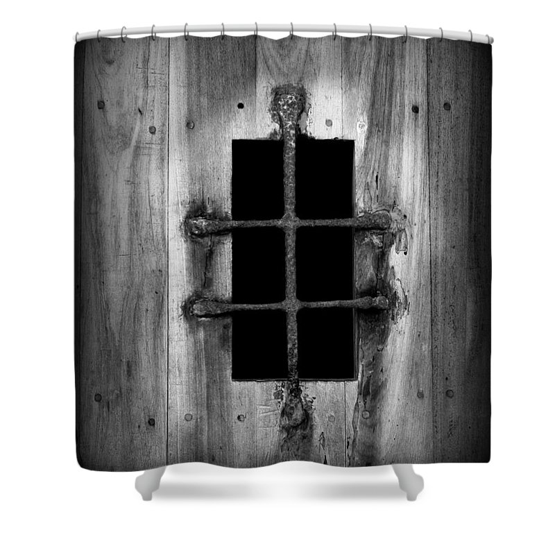 Door Shower Curtain featuring the photograph Spanish Fort Window by Perry Webster