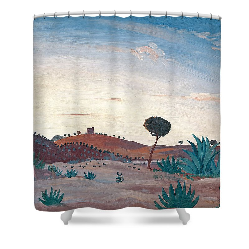 James Dickson Innes Shower Curtain Featuring The Painting Spanish Landscape By