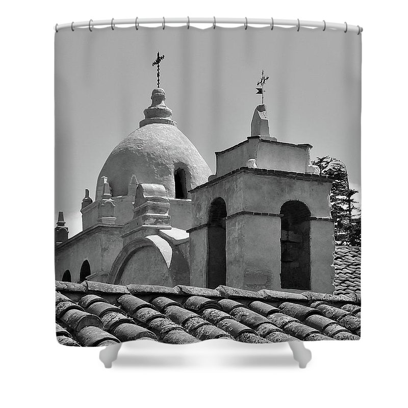 Spanish Mission Carmel By The Sea California Shower Curtain featuring the photograph Spanish Mission by Michael Wirmel