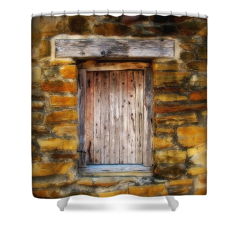 Window Shower Curtain featuring the photograph Spanish Mission Window by Perry Webster