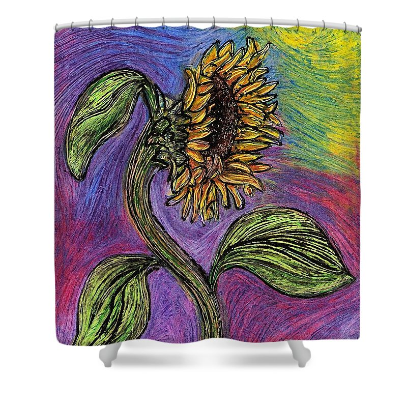 Sunflower Shower Curtain featuring the pastel Spanish Sunflower by Sarah Loft