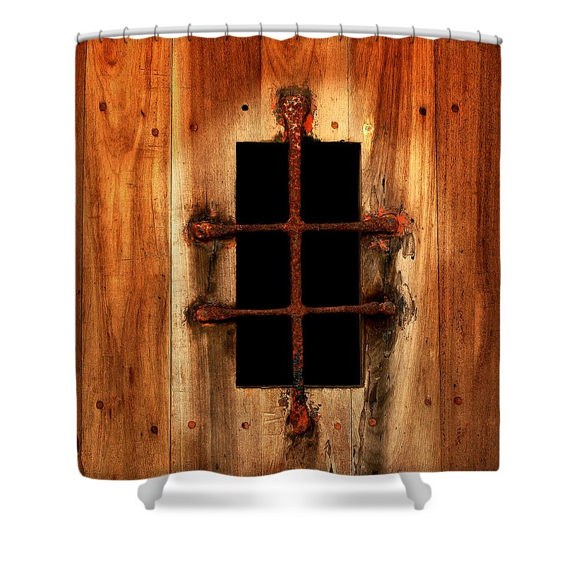Door Shower Curtain featuring the photograph Spanish Window Detail by Perry Webster