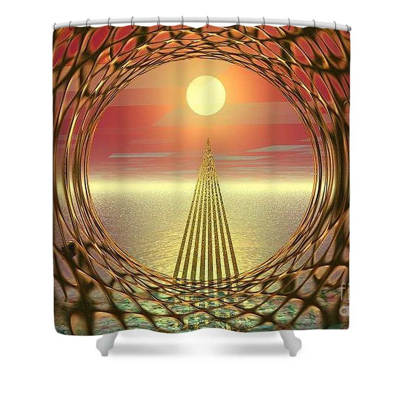 Abstract Shower Curtain featuring the digital art Sparkles Of Light by Oscar Basurto Carbonell