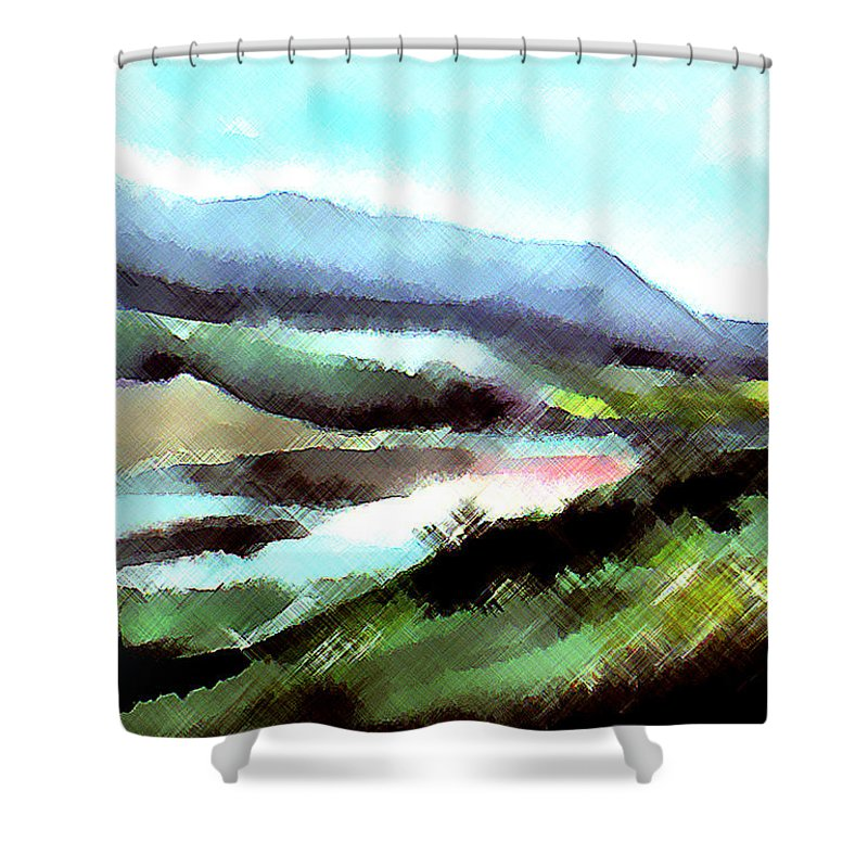 Digital Art Shower Curtain featuring the painting Sparkling by Anil Nene
