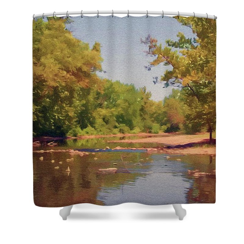 Creek Shower Curtain featuring the painting Spavinaw Creek by Jeffrey Kolker