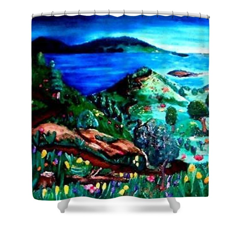 Landscape Shower Curtain featuring the painting Special Land by Andrew Johnson