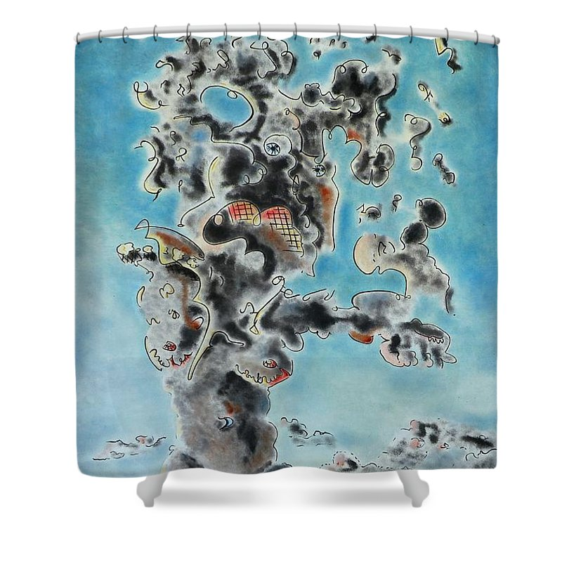 Surreal Shower Curtain featuring the painting Spectre by Dave Martsolf