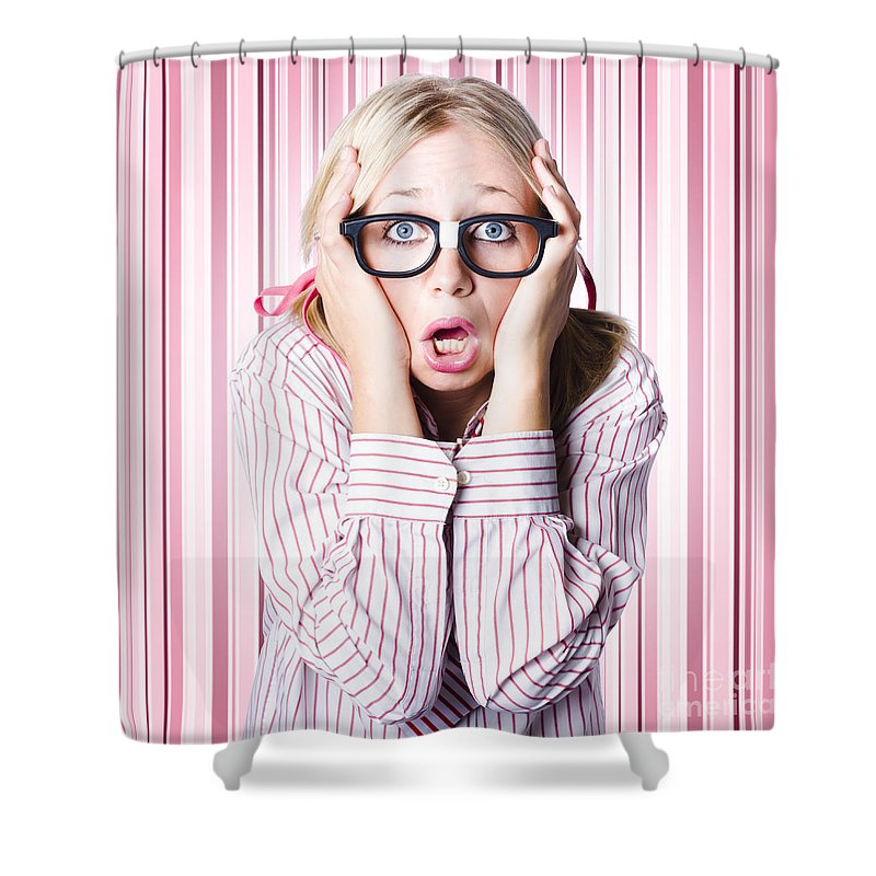 Adult Shower Curtain featuring the photograph Speechless Nerd Covering Ears In Silent Shock by Jorgo Photography - Wall Art Gallery