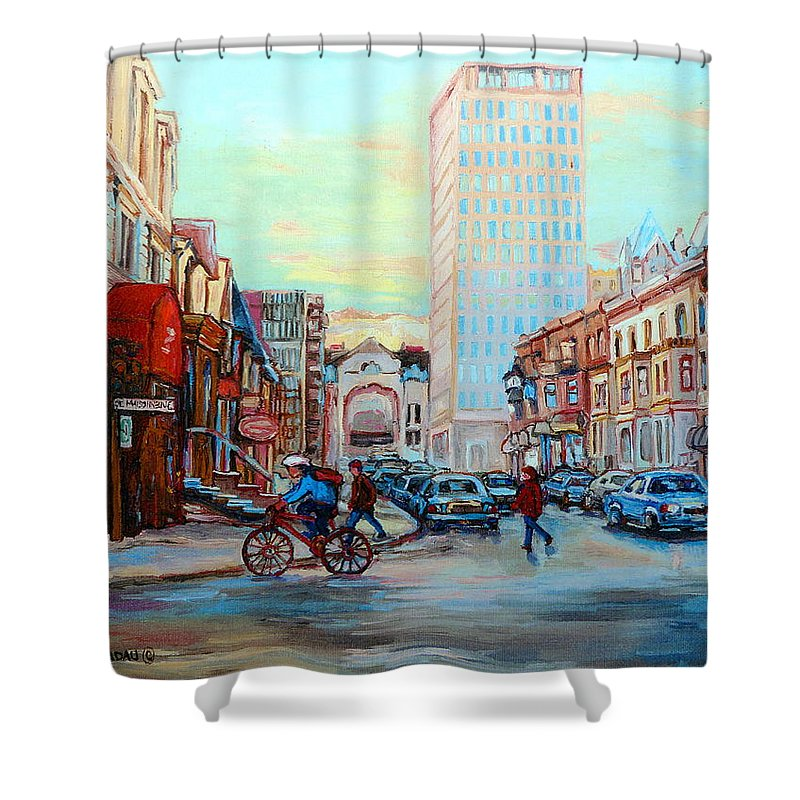 Montreal Shower Curtain featuring the painting Speed Cyclist On Crescent by Carole Spandau