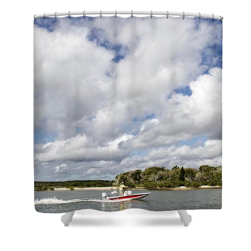 Alicegipsonphotographs Shower Curtain featuring the photograph Speedy Red Boat by Alice Gipson