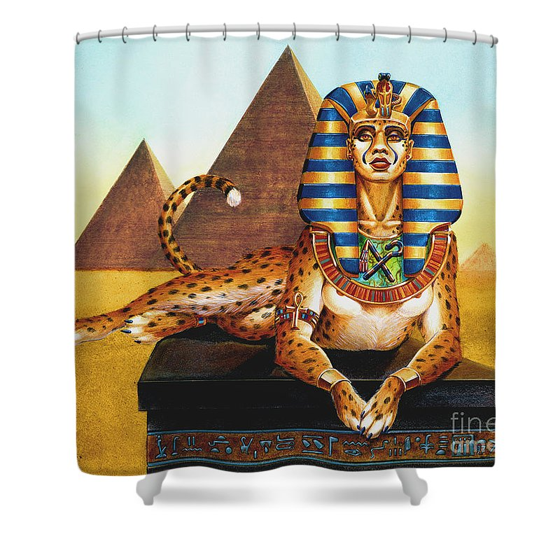Cat Shower Curtain featuring the painting Sphinx on Plinth by Melissa A Benson