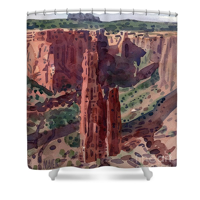Spider Rock Shower Curtain featuring the painting Spider Rock Overlook by Donald Maier