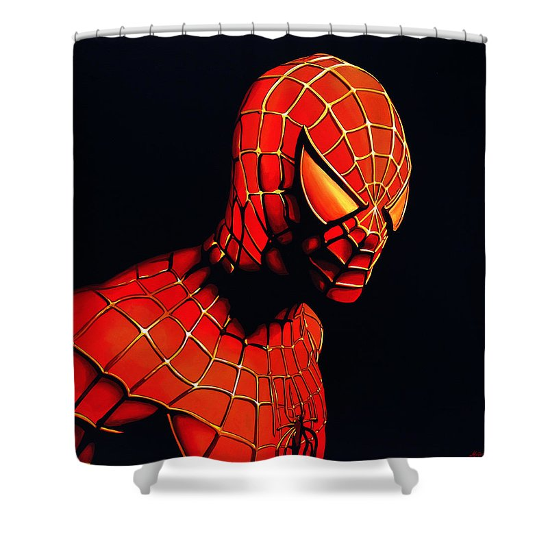 Spiderman Shower Curtain Featuring The Painting By Paul Meijering