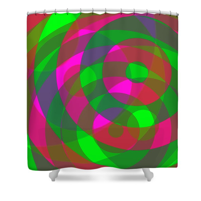 Red Shower Curtain featuring the digital art Spin 2 by Julia Woodman