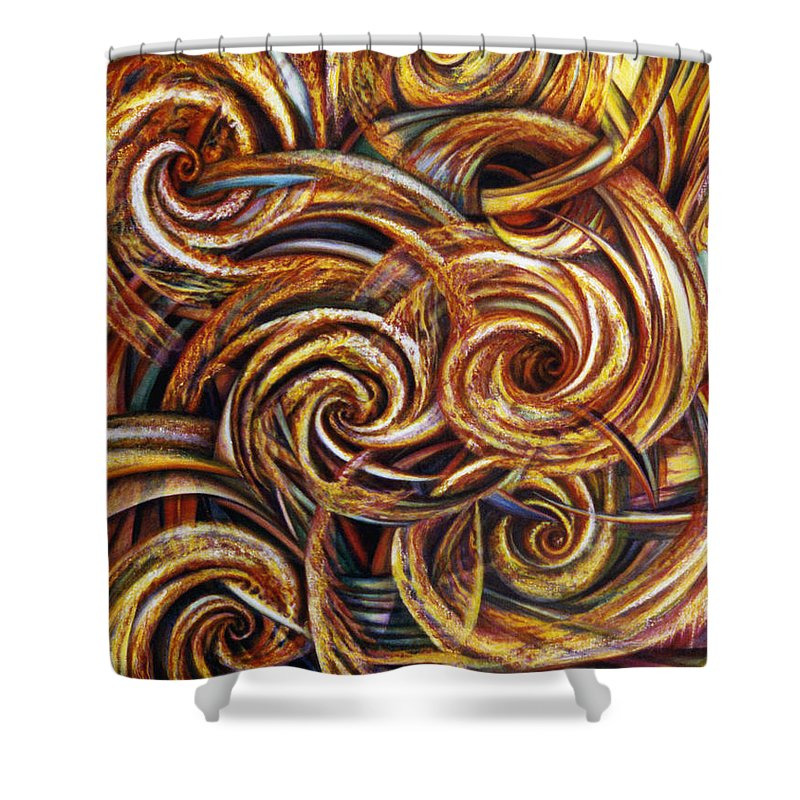 Spiritual Shower Curtain featuring the painting Spiral Journey by Nad Wolinska